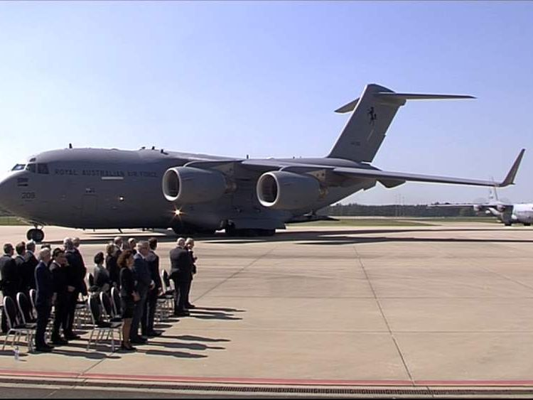 MH17 vcitims' bodies arrive at Eindhoven Airport