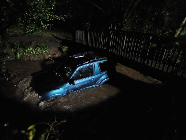 A man was killed after his 4x4 was washed down a stream by flood water and wedged against a foot bridge in the village of Chew Stoke near Bristol