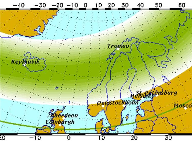 A map of the Aurora Forecast for Friday January 10 by University of Alaska