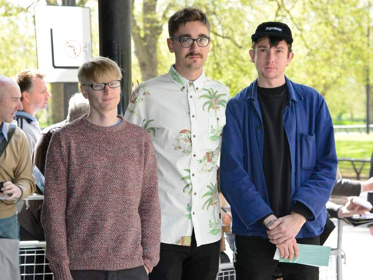 Indie band Alt-J arrive at the Ivor Novello Awards in London.