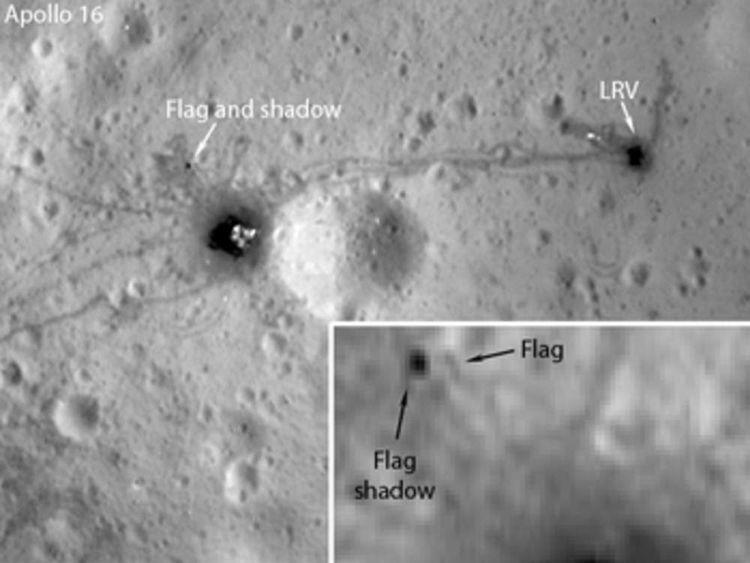 Nasa image from Lunar Reconnaisance Orbiter Camera showing Apollo 16 flag