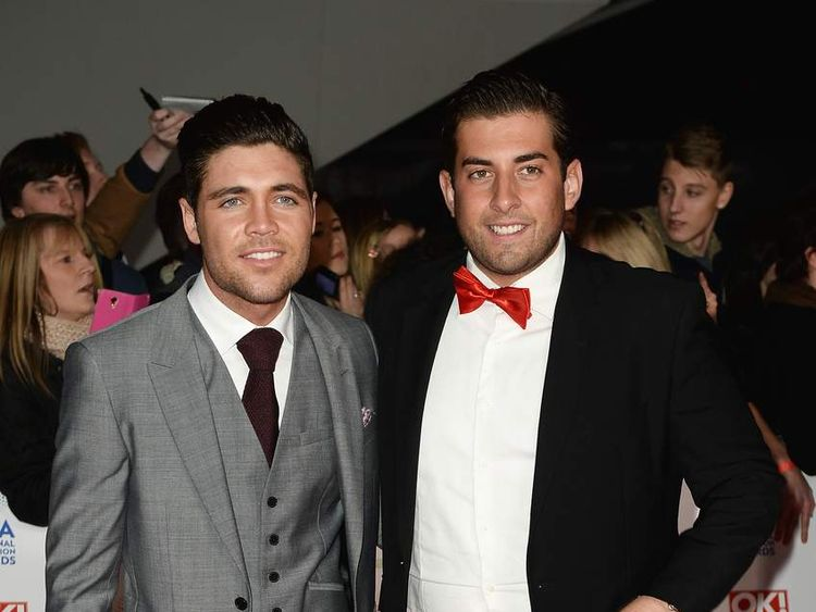 James Argent (R) with Tom Pearce (L) at the National Television Awards in London