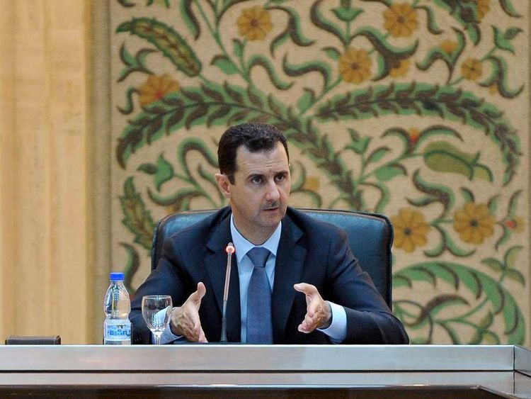 Bashar al Assad speaks to his government in Damascus.