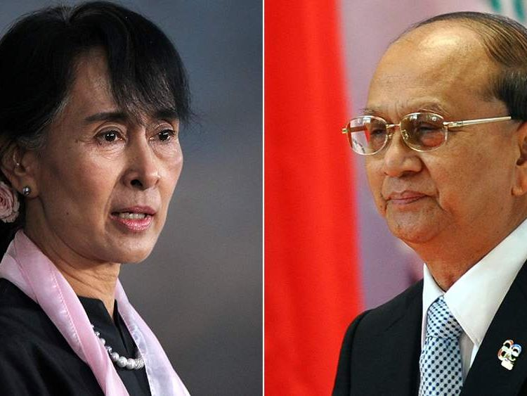 Aung San Suu Kyi (L) and Burmese Presidacent Thein Sein (R)