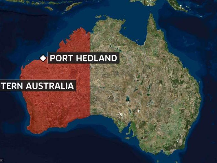 Map of Australia showing Port Hedland