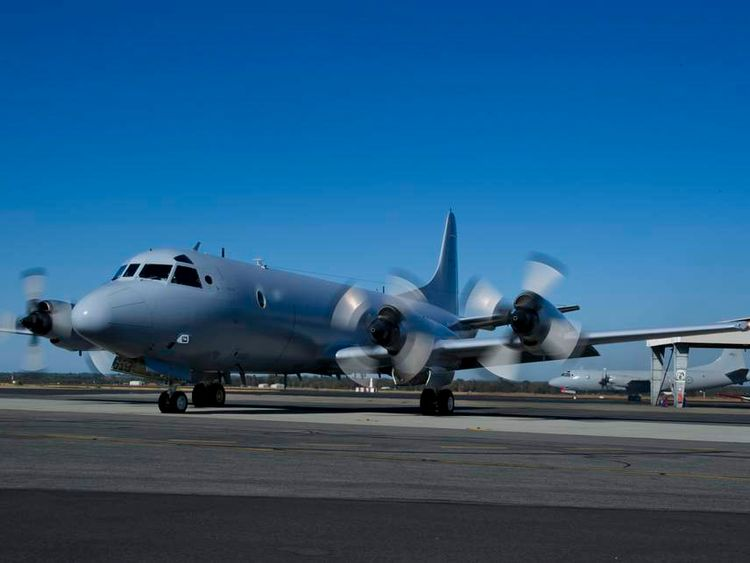 Royal Australian Air Force AP-3C Orion aircraft looks for Malaysian plane