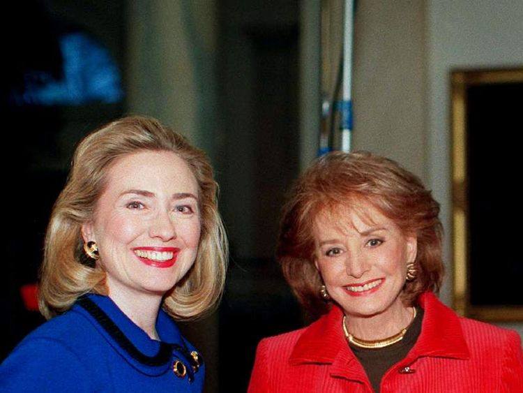 First Lady Hillary Rodham Clinton (L) talks to Barbara Walters concerning the controversies currentl..