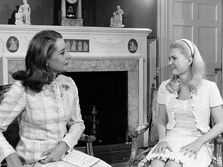 Tricia Nixon speaks with Barbara Walters