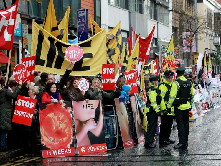 Belfast abortion protesters