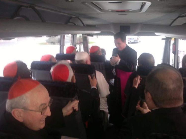 Pope Francis I rides on the bus with the cardinals instead of taking a limousine