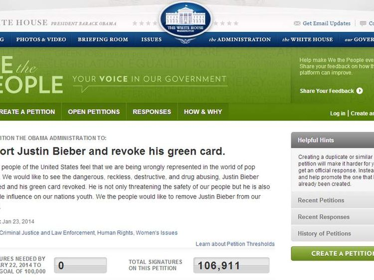 Justin Bieber White House petition