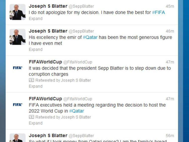 Sepp Blatter's hacked Twitter page