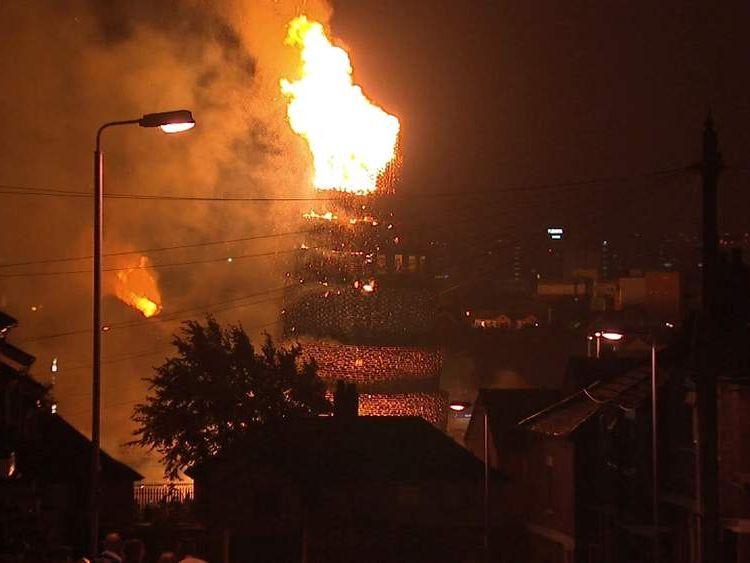 A bonfire lit to celebrate July 12