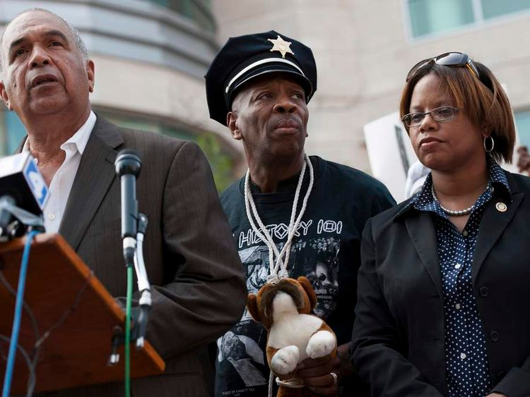 Press conference outside St Louis County Justice Center in Clayton, Missouri