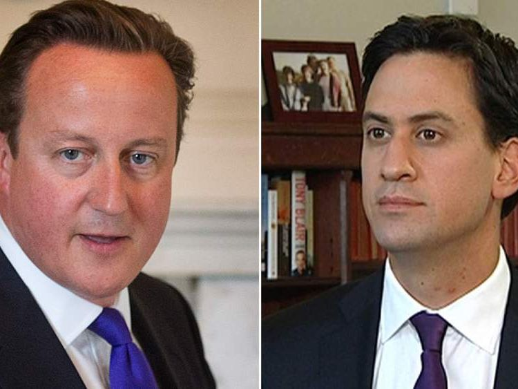 David Cameron (L) and Ed Miliband (R)