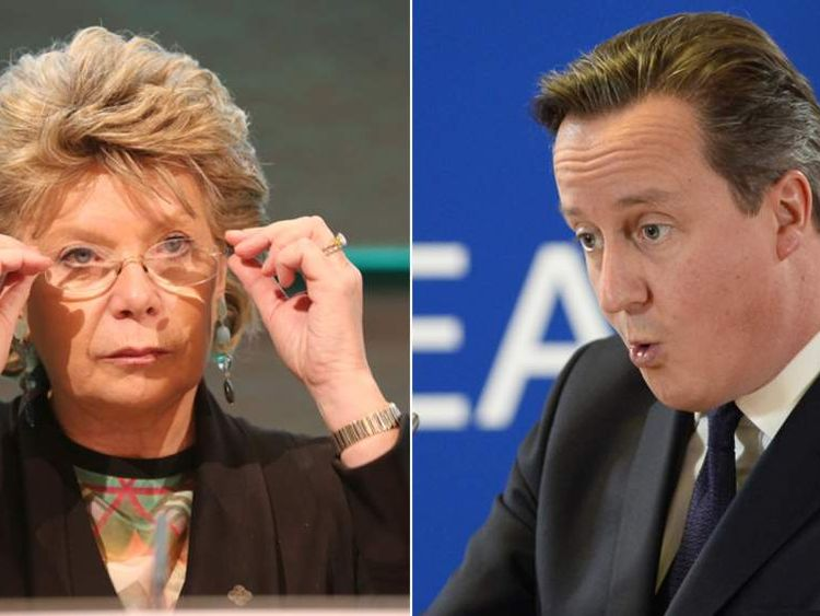 Viviane Reding and David Cameron