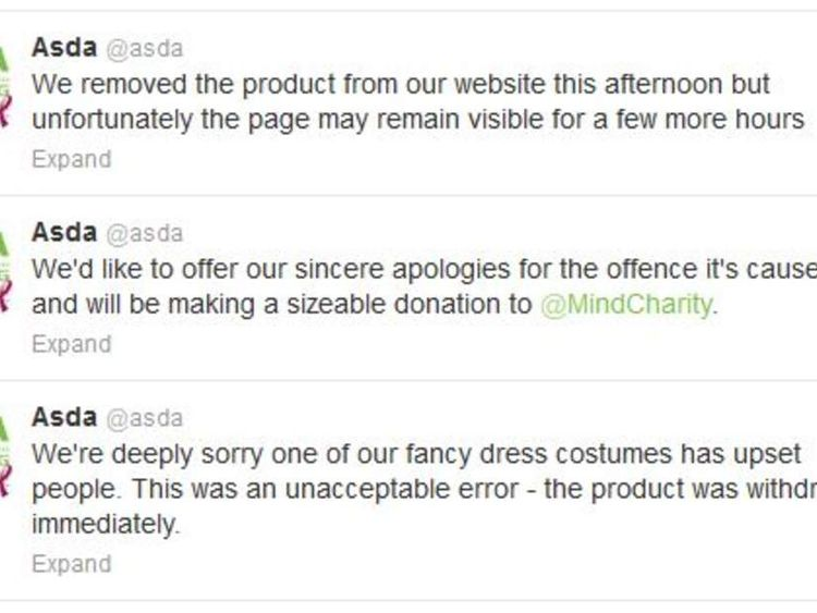 "Asda response to ""mental patient"" costume"