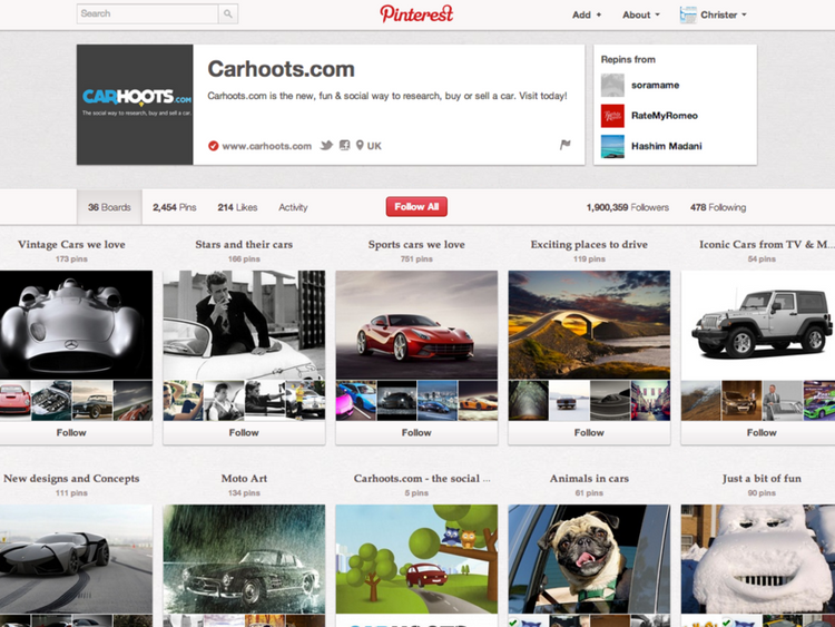 Carhoots' Pinterest board