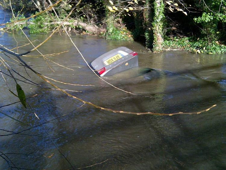 Flooding: car under water