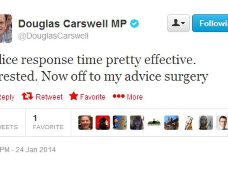The second tweet about the incident from Douglas Carswell's Twitter account.