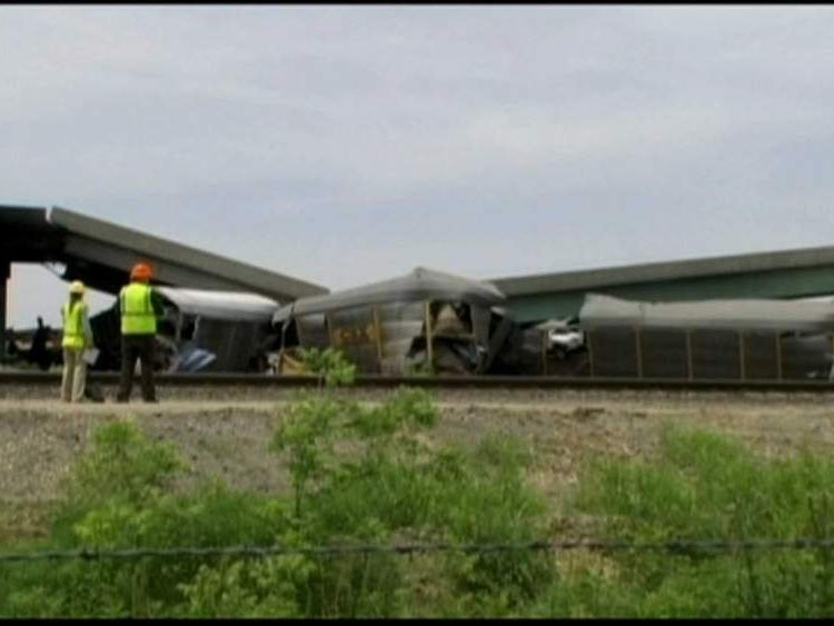 Highway overpass bridge collapses in Missouri after train collision