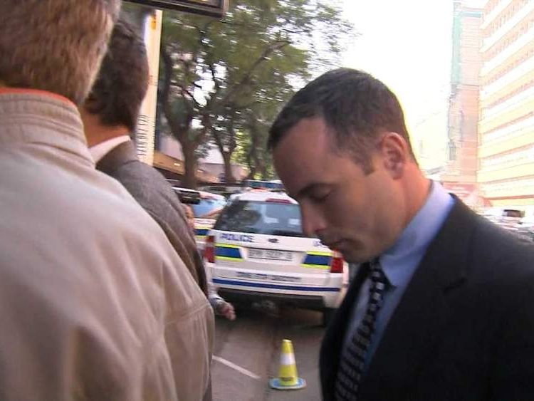 Oscar Pistorius arrives in court in South Africa