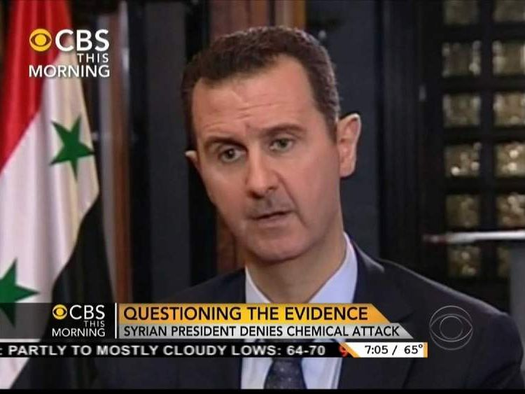 Syria president Bashar al Assad speaks to CBS