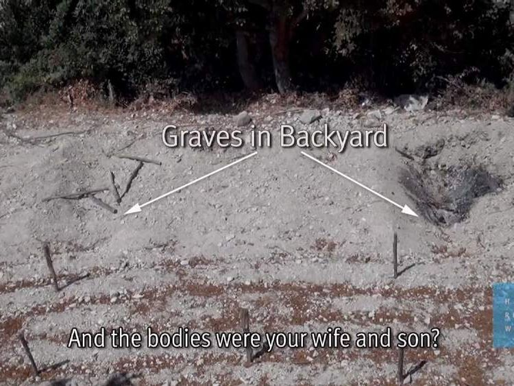 Graves are shown in a village back garden