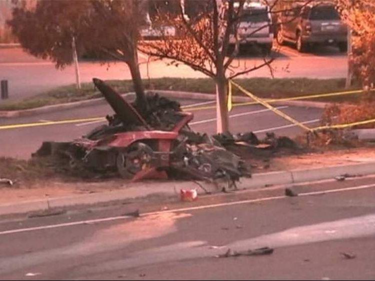 Scene of car crash involving actor Paul Walker