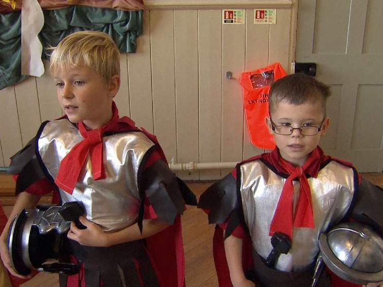 Schoolboys dressed as Romans as part of Latin teaching