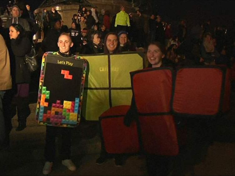 Giant Tetris played on Philadelphia
