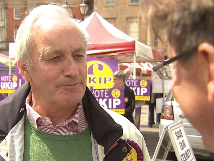 UKIP's Neil Hamilton speaks to Sky's Jason Farrell in Newark