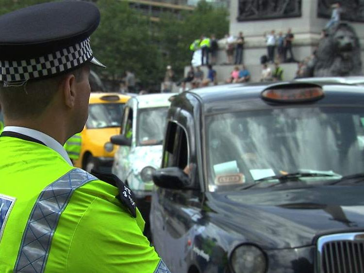 London black cab protest over Uber app