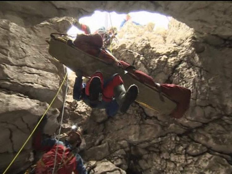 Johann Westhauser is rescued after beiing trapped in Riesending cave complex in Germany