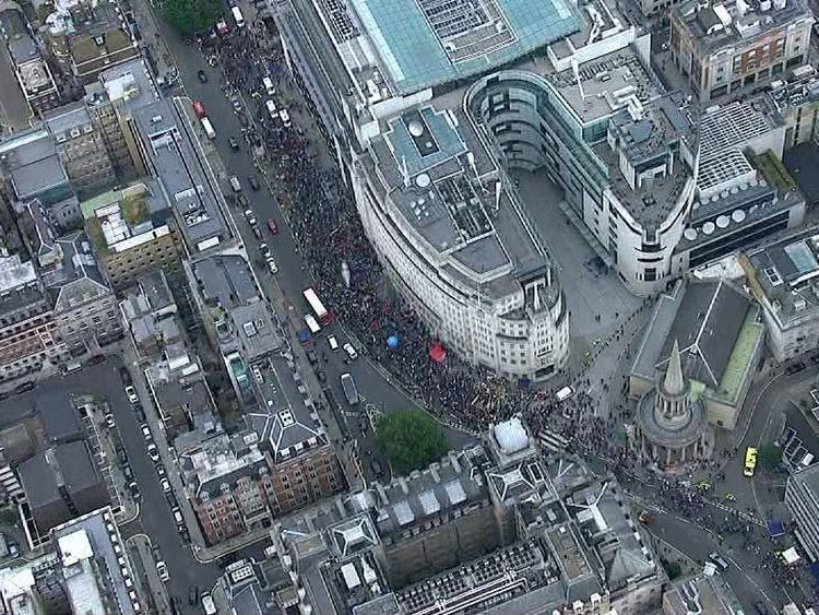 Aerial views of the strike action taking place in London today