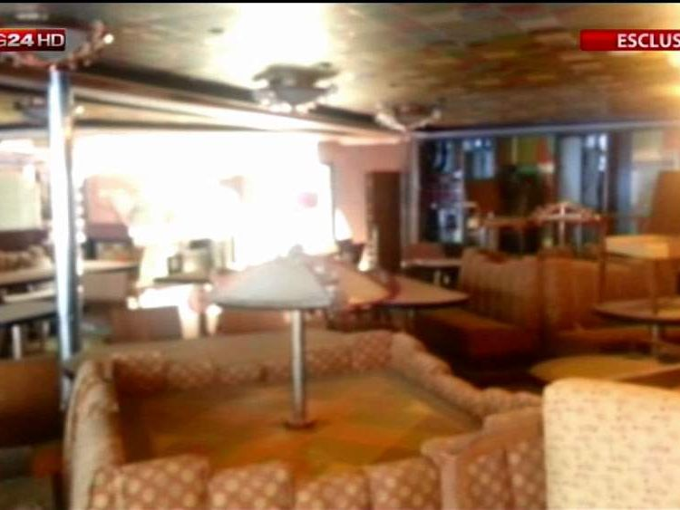 Bar area of the refloated Costa Concordia