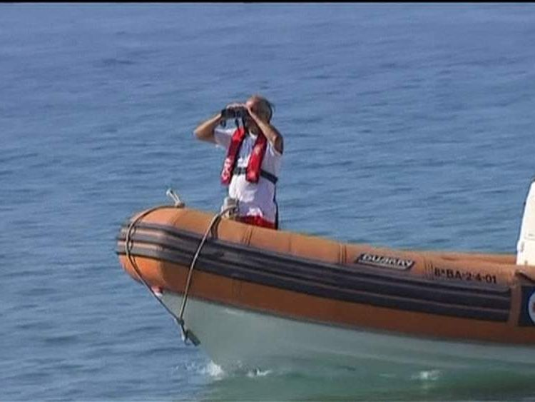 Patrol boat looks for sharks in Spain