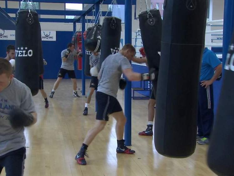 Team Scotland boxers in training for the Commonwealth Games.