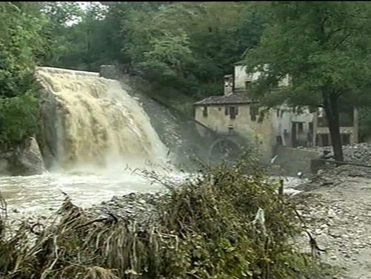 The scene of floods in Italy, where four festival goers died.