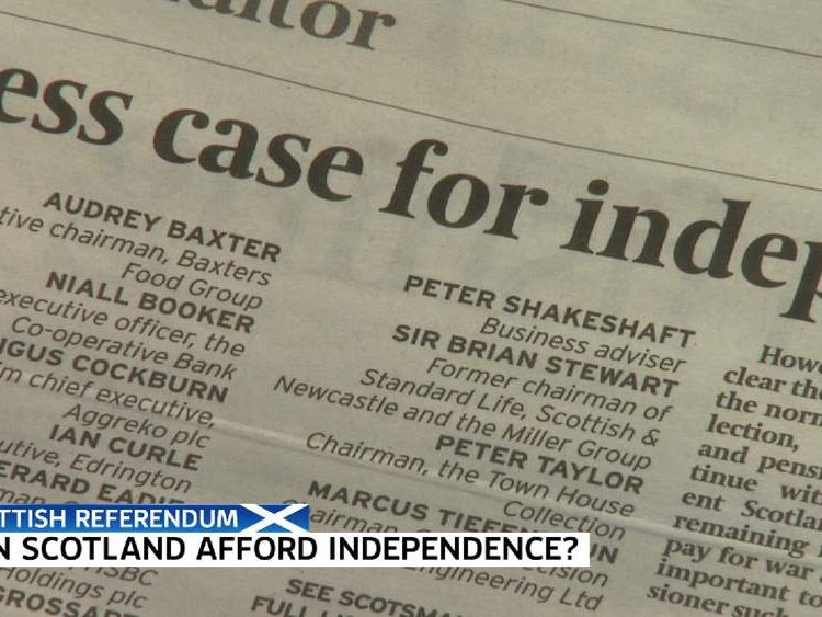Scotland business letter in newspaper