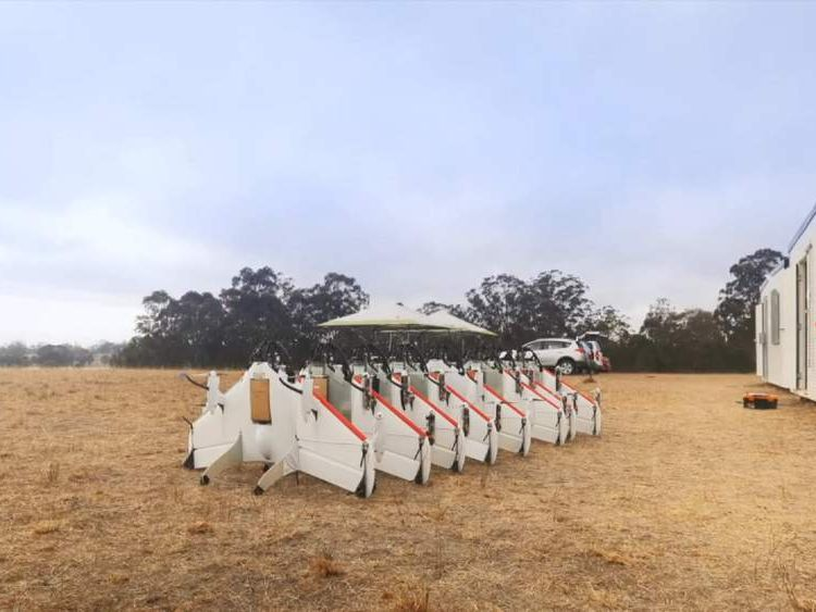 A row of the drones