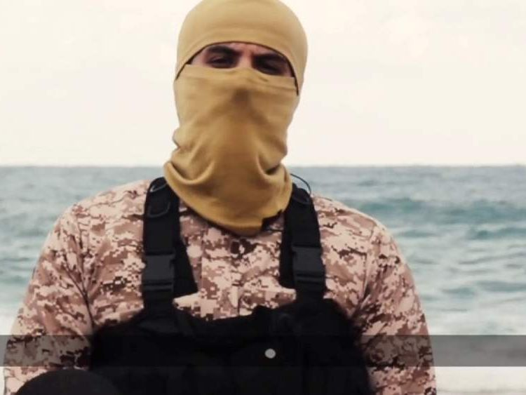 A militant who appears in a video purporting to show the beheading of 21 Egyptian Coptic Christians in Libya.