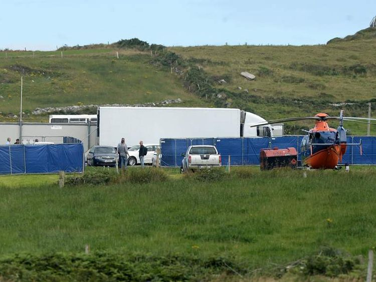 Production crew and sets on Skellig Island as Star Wars Episode VII directed by JJ Abrams begins filming