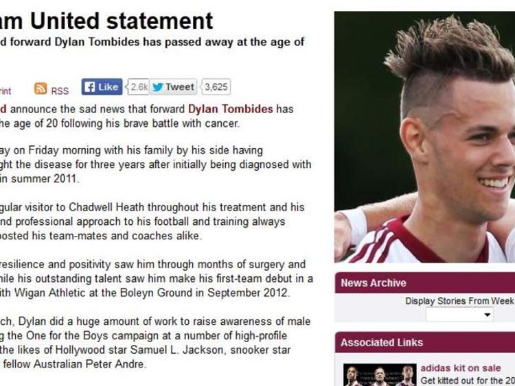 Dylan Tombides club statement