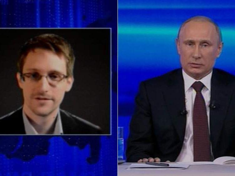 Edward Snowden and Vladimir Putin