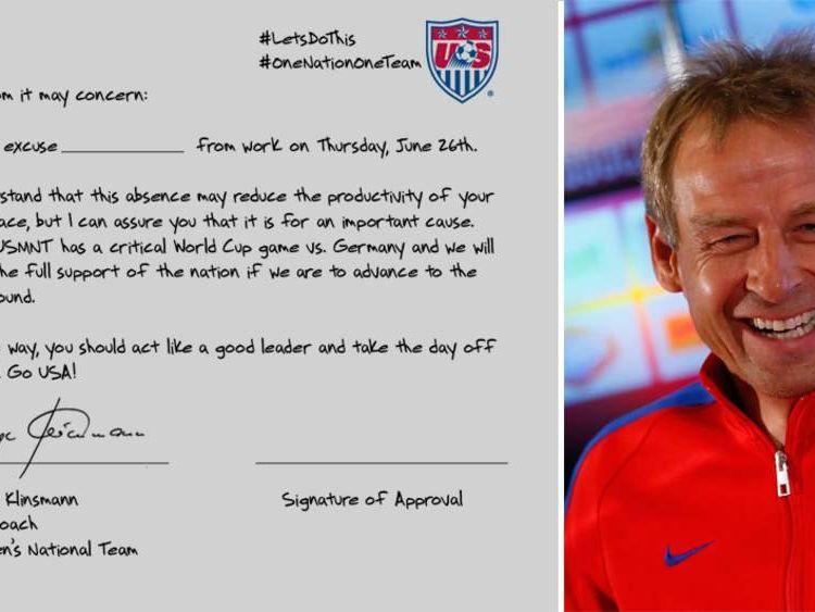 Jurgen Klinsmann writes cheeky letter