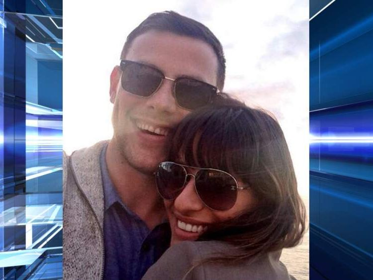 Cory Monteith and girlfriend Lea Michele. Pic: @MsLeaMichelle/Twitter
