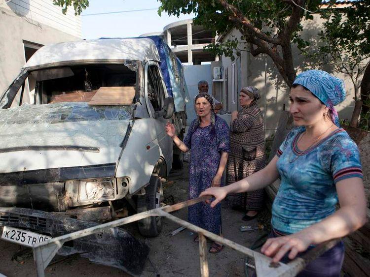 Mini truck damaged in an anti-terrorist operation in Kaspiysk, Dagestan