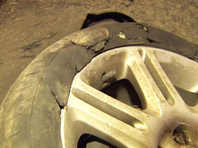 car tyre damaged by England's record wettest winter