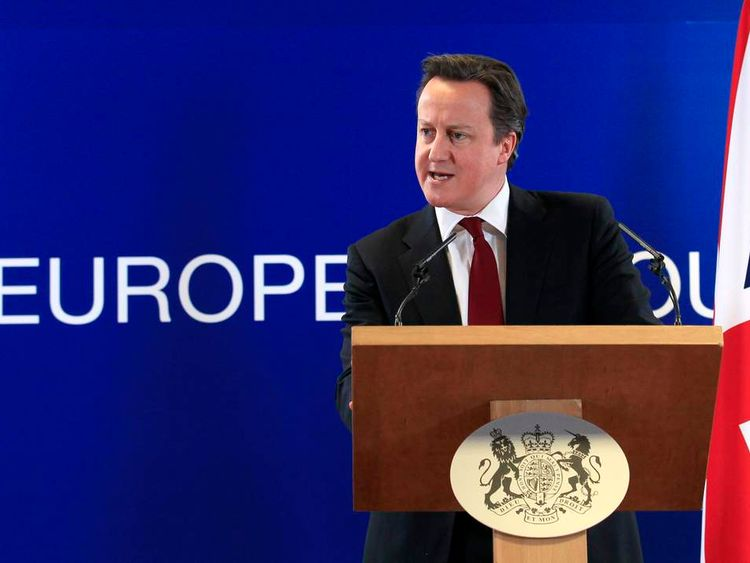 David Cameron holds a news conference at the end of a European Union leaders summit in Brussels in March